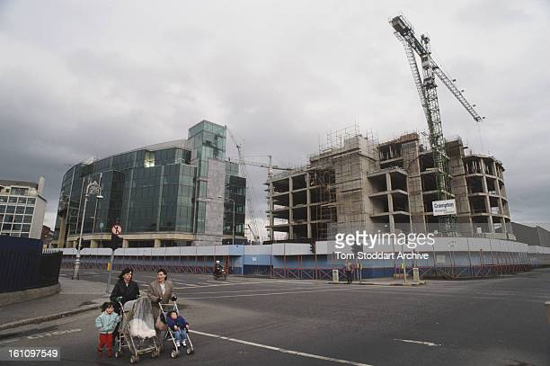 The International Financial Services Centre under construction in North Wall Dublin Ireland 1988