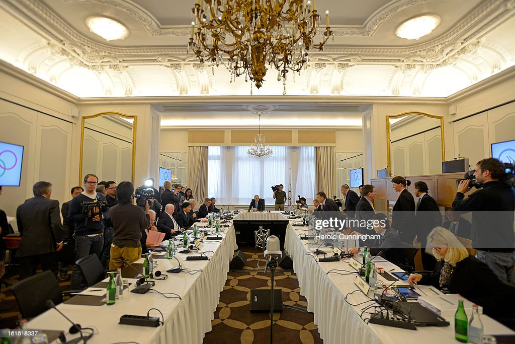 The International Olympic Committee (IOC) Executive board meeting prepares at the Lausanne Palace Hotel on February 12, 2013 in Lausanne, Switzerland. The two day board meeting is taking place to ensure the relevance of the Games.