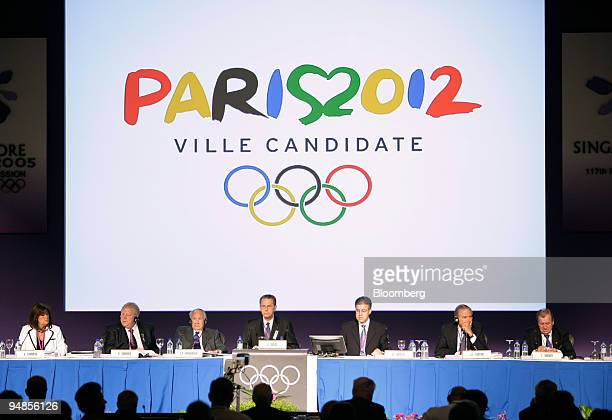 The International Olympic Committee executive board members listen to the final presentation by the Paris bid delegation at the 117th IOC Session in...