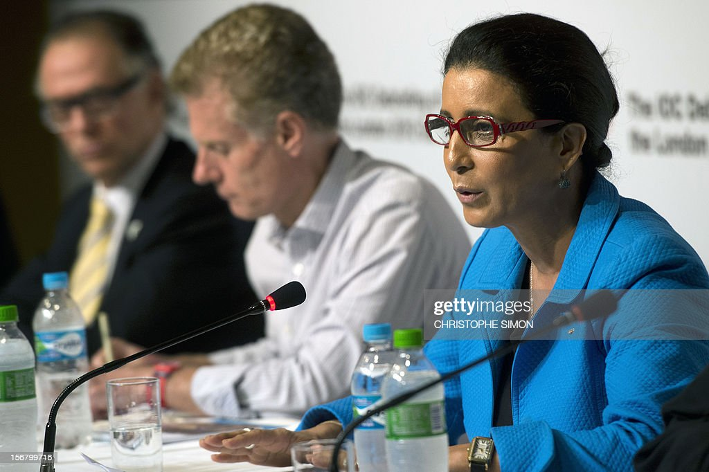 The International Olympic Committee (IOC) Vice-president and Chair of the IOC Coordination commission for Rio 2016, Moroccan Nawal El Moutawakel (R), delivers a speech during the debriefing of London 2012 Olympic Games for the foreing press, at Barra de Tijuca in Rio de Janeiro on November 21, 2012. AFP PHOTO / Christophe Simon