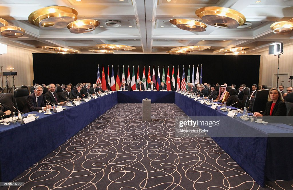 The International Syrian Support Group (ISSG) is pictured ahead of the International Munich Security Conference on February 11, 2016 in Munich, Germany. ISSG met in Munich to further discuss a peaceful solution in the Syria war.