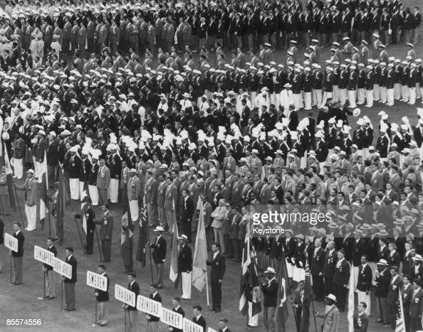 The international teams assemble in Melbourne Cricket Ground for the opening ceremony of the 1956 Summer Olympics 22nd November 1956