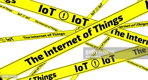 The Internet of Things. Yellow warning tapes : Stock Photo