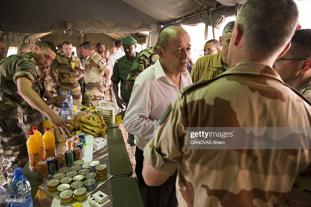 the intervention of the French army in Mali paratroopers and legionnaires in the valley of Ametatai and Iforas, weapons and ammunition taken to the rebels of AQIM, visit of Jean-Yves Le Drian the minister of Defence on March 7, 2013.