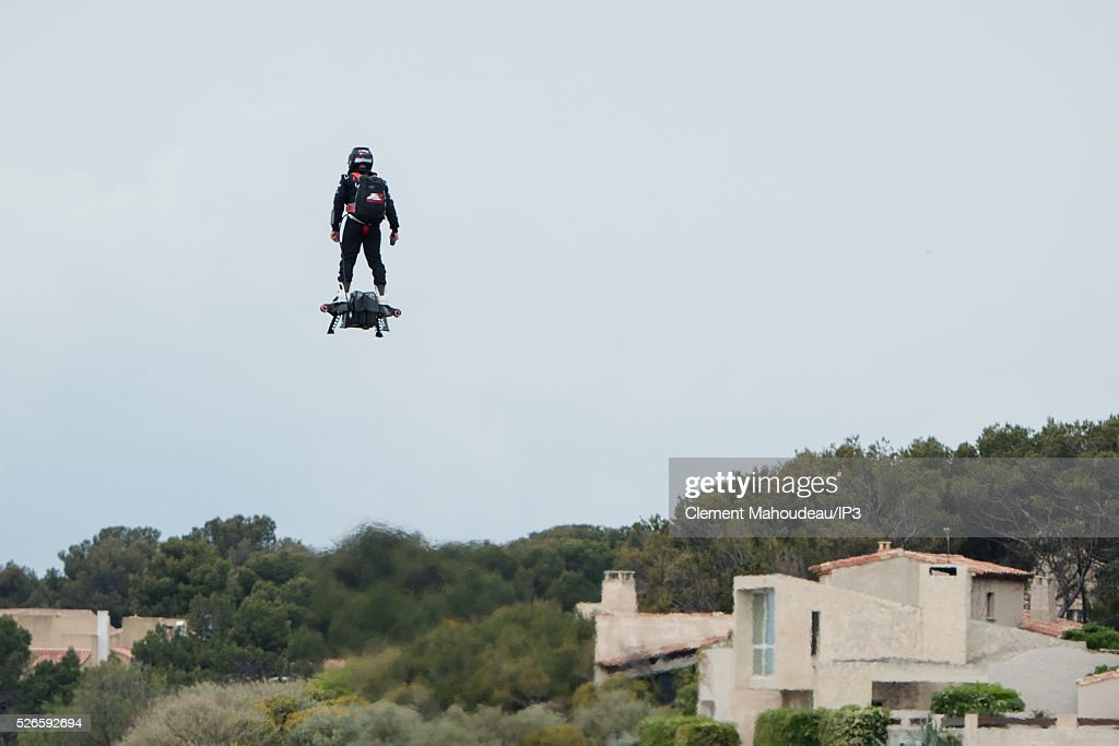 The inventor of a flying machine, Fly Board Air, Franky Zapata uses his creation on April 30, 2016 in Marseille, France. The Flyboard Air, with its company Zapata Racing (ZR), gives its first public demonstration allowing a man to fly by air propulsion. Zapata, the French jet ski champion who invented the Fly board Air, has set a new Guinness World Record for the furthest hover board flight. Zapata achieved the feat off the coast of Sausset-les-Pins in the south of France, riding his Fly board Air hover board for a distance of more than 2,252 meters (7,388) feet).
