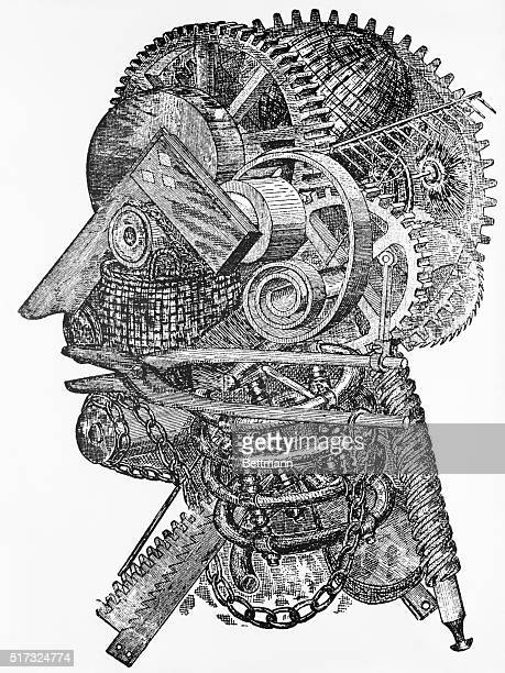 The inventor's head Line drawing of a man's head made up of gears chains pliers etc BPA2# 2625