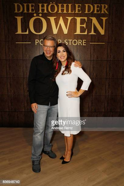 The investors Frank Thelen and Judith Williams pose during the photo call for the fourth season of the TV show 'Die Hoehle der Loewen' on August 22...