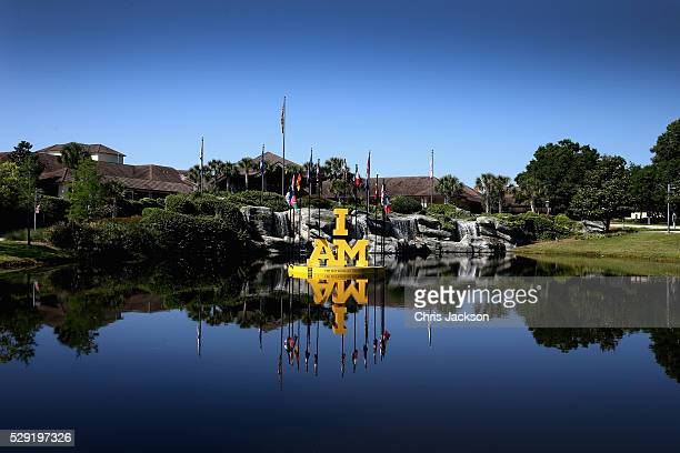 The Invictus Games 'I AM' logo is seen at the Shades of Green resort at Invictus Games Orlando 2016 at ESPN Wide World of Sports on May 8 2016 in...