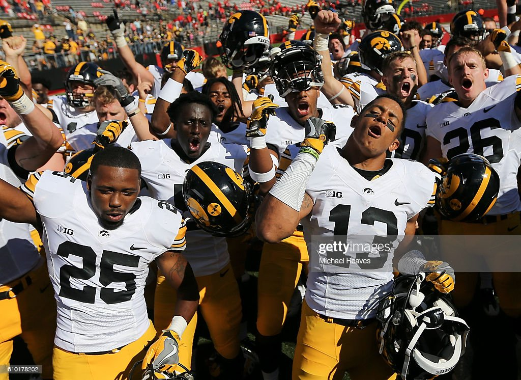The Iowa Hawkeyes celebrate after defeating Rutgers Scarlet Knights 14-7 at High Point Solutions Stadium on September 24, 2016 in Piscataway, New Jersey.