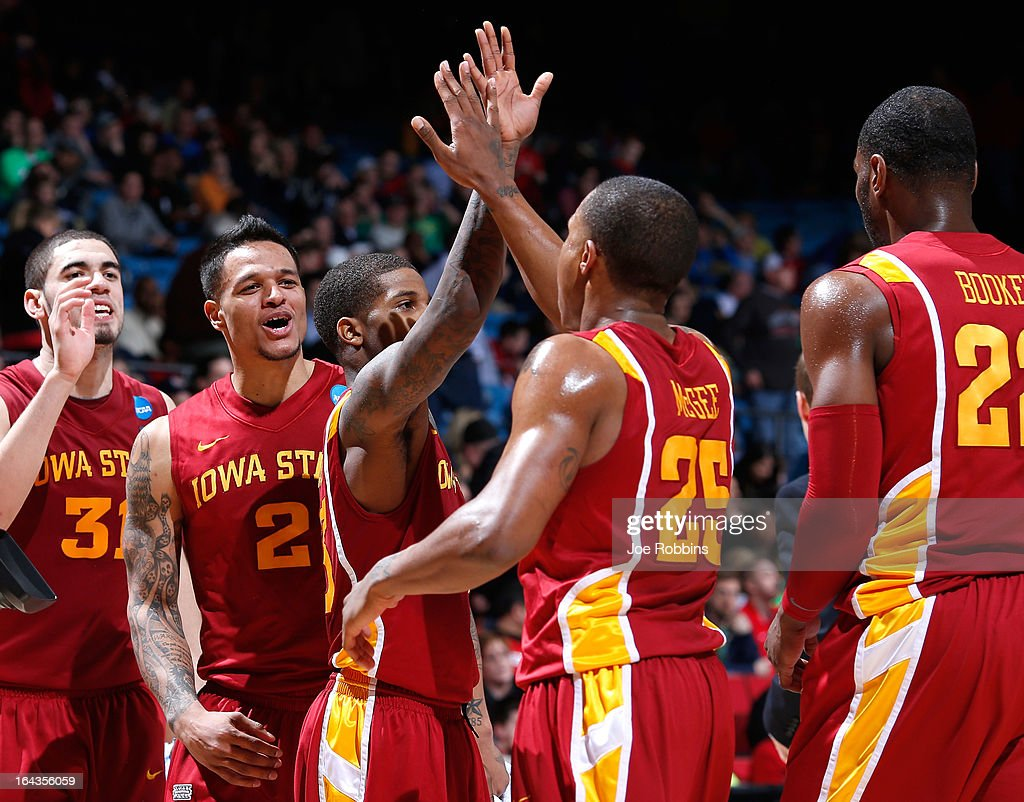 The Iowa State Cyclones celebrate after a play in the second half against the Notre Dame Fighting Irish during the second round of the 2013 NCAA Men's Basketball Tournament at UD Arena on March 22, 2013 in Dayton, Ohio.