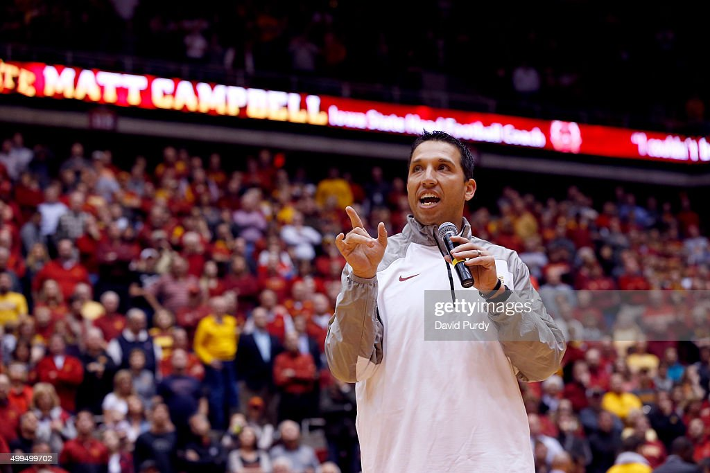 The Iowa State Cyclones new head football coach <a gi-track='captionPersonalityLinkClicked' href=/galleries/search?phrase=Matt+Campbell&family=editorial&specificpeople=2523847 ng-click='$event.stopPropagation()'>Matt Campbell</a> address the crowd during a timeout in the first half of play of the Iowa State Cyclones mens basketball game against the North Dakota State Bison at Hilton Coliseum on December 1, 2015 in Ames, Iowa.