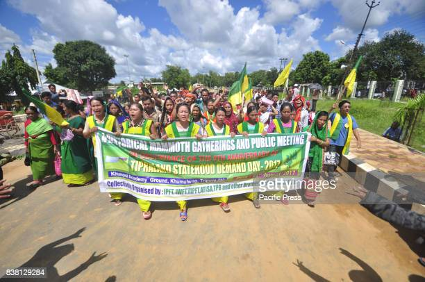 The IPFT supporters are walking in a rally on the occasion of the 9th anniversary of Tipraland Statehood Demand Day2017 at Khumlung in the outskirts...