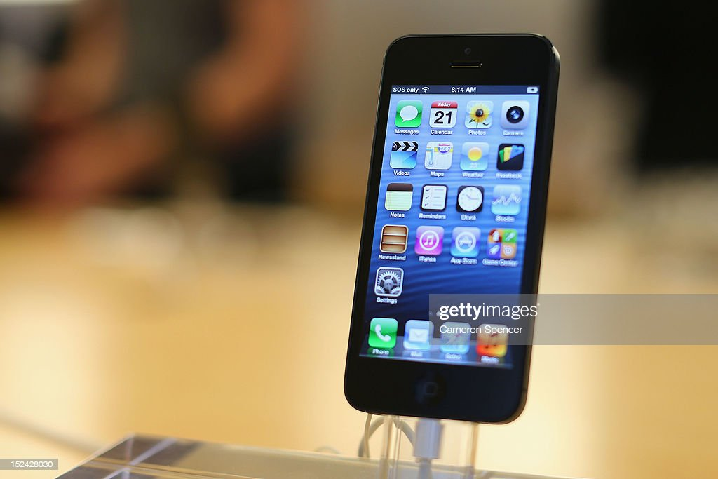 The iPhone 5 smartphone is displayed at the Apple flagship store on George street on September 21, 2012 in Sydney, Australia. Australian Apple stores are the first in the world to receive and sell the new iPhone 5 handsets.