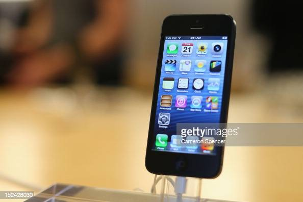 The iPhone 5 smartphone is displayed at the Apple flagship store on George street on September 21 2012 in Sydney Australia Australian Apple stores...