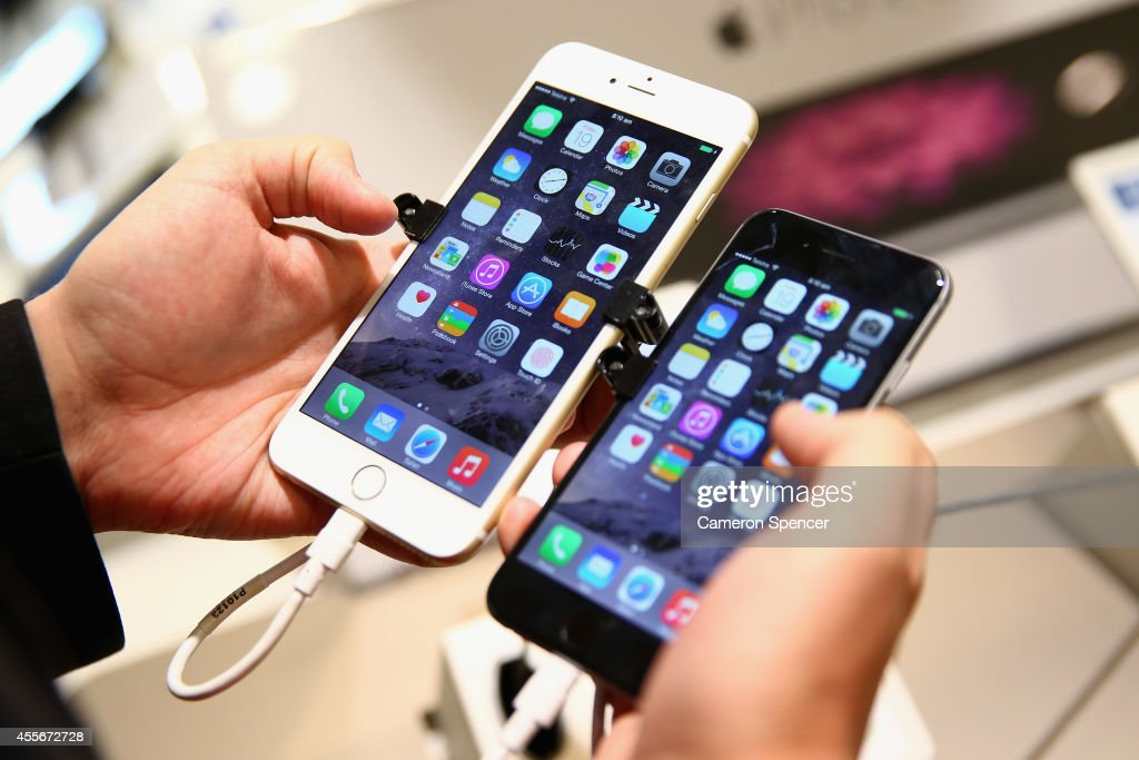 The iPhone 6 Plus and iPhone 6 are compared at a Telstra Store on September 19 2014 in Sydney Australia Australian buyers have the first opportunity...