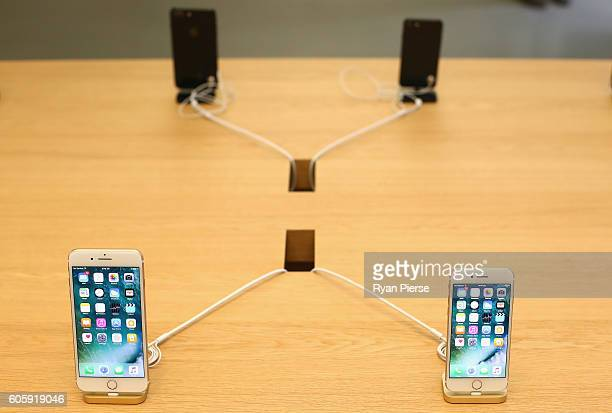 The iPhone 7 is seen at its release at Apple Store on September 16 2016 in Sydney Australia Apple's latest iPhone features a waterproof body upgraded...