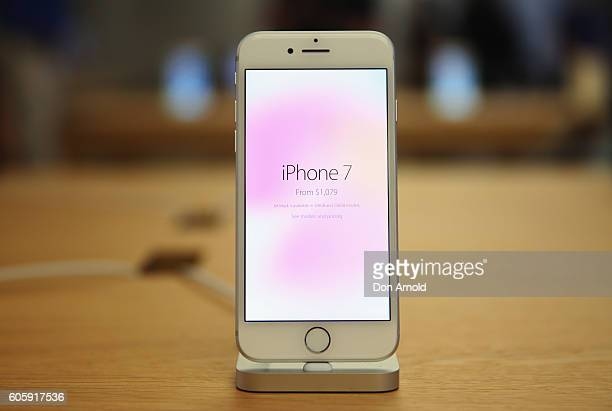 The iPhone 7 is seen displayed inside the Apple Store on September 16 2016 in Sydney Australia Apple's latest iPhone features a waterproof body...