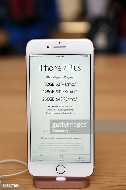 The iPhone 7 Plus smartphone is displayed at an Apple Inc in San Francisco California US on Friday Sept 16 2016 Shoppers looking to buy Apple Inc's...