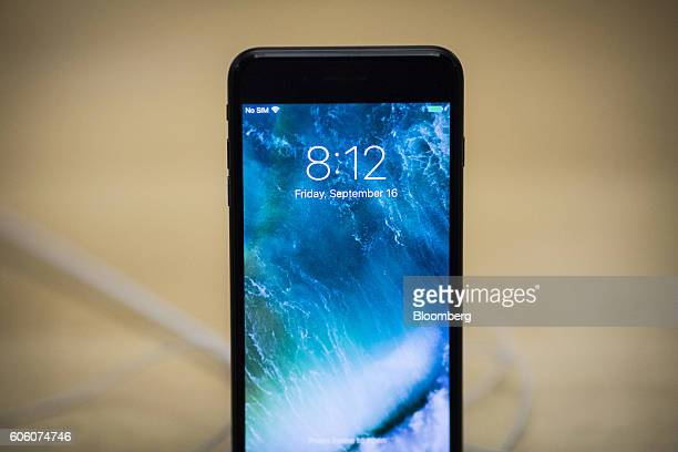 The iPhone 7 smartphone is displayed at an Apple Inc store in New York US on Friday Sept 16 2016 Apple Inc unveiled new iPhones without headphone...