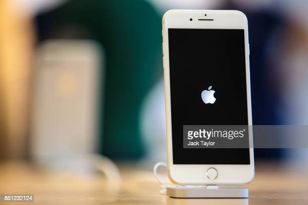 The iPhone 8 plus on display at Apple Regent Street for the launch of the new phone on September 22 2017 in London England Apple have today launched...