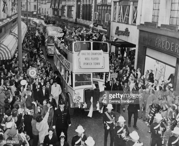 The Ipswich Town football team ride through the streets of Ipswich in triumph after winning the Football League Cup to a civic reception at the town...