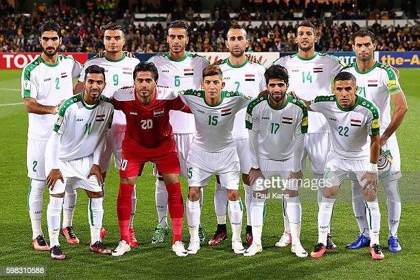 The Iraqi players pose for a team photo before the 2018 FIFA World Cup Qualifier match between the Australian Socceroos and Iraq at nib Stadium on...