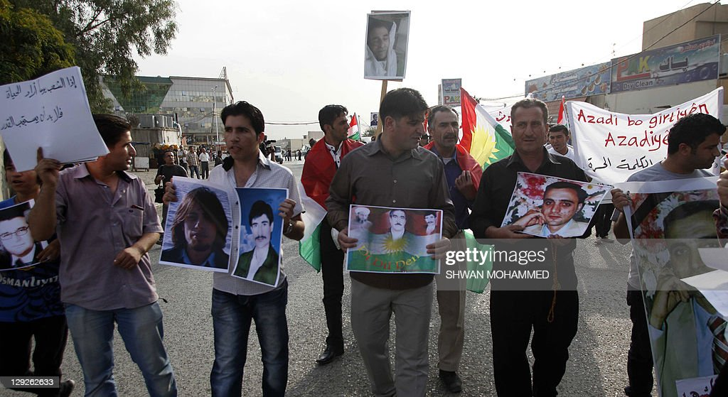 The Iraqi-Kurdish opposition to the Syrian regime of Bashar Assad protest in the city of Sulaimaniyah, 440 kilometres north of Baghdad, on October 15, 2011, in support of Syrian protesters in cities across the neighboring country calling for an end to Bashar's regime.