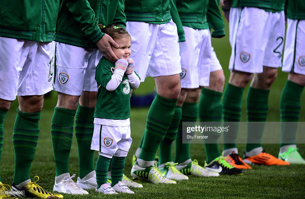 The Ireland mascot keeps warm before the FIFA 2014 World Cup Group C Qualifiying match between Republic of Ireland and Austria at Aviva Stadium on March 26, 2013 in Dublin, Ireland.