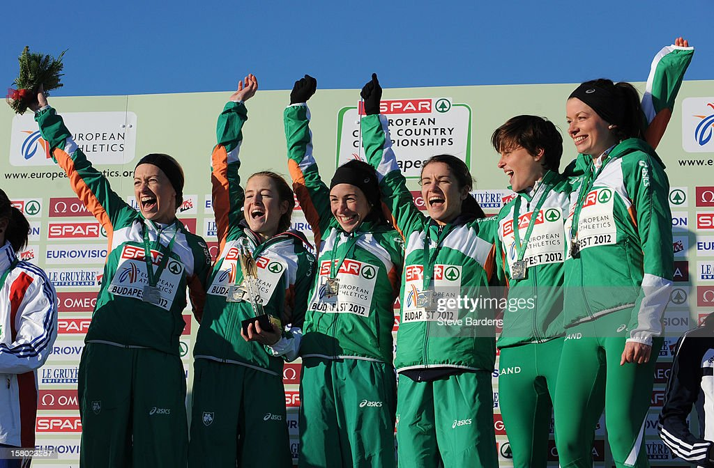 The Ireland Team celebrate with their gold medals after winning the Senior Women's race during the 19th SPAR European Cross Country Championships o December 9, 2012 in Budapest, H ungary.