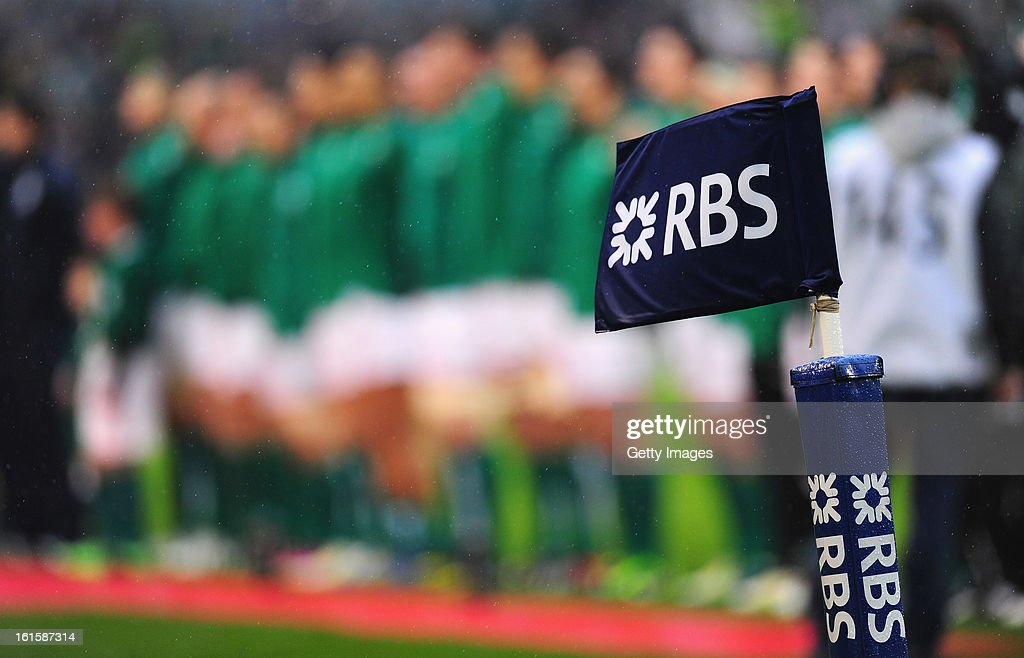 The Ireland team line up for the anthems befor the RBS Six Nations match between Ireland and England at Aviva Stadium on February 10, 2013 in Dublin, Ireland.