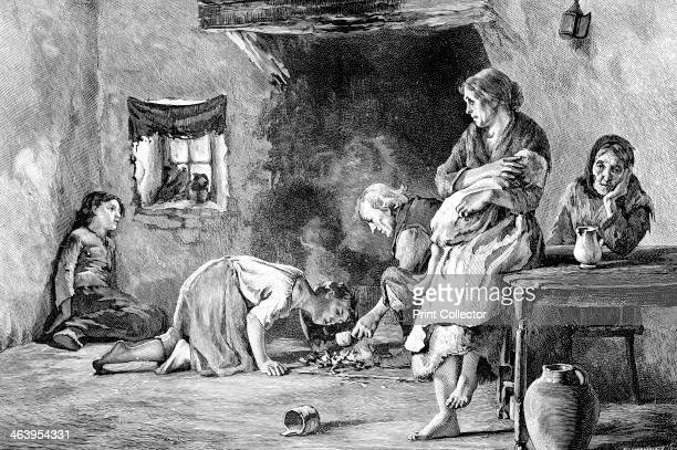 The Irish Famine 18451849 Interior of a peasant family's hut Illustration from The life and times of Queen Victoria by Robert Wilson