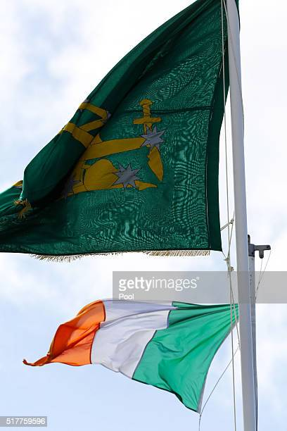 The Irish Flag flies during the Easter Sunday Commemoration Ceremony at the General Post Office on March 27 2016 in Dublin Ireland Today marks the...