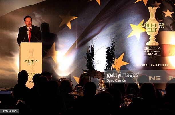 The Irish Minister for Transport Tourism and Sport Leo Varadkar speaks during the Gala Dinner prior to the 2011 Solheim Cup at the Burlington Hotel...