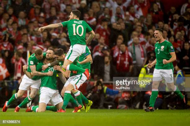 The Irish players celebrate scoring during the FIFA World Cup 2018 PlayOff match between Republic of Ireland and Denmark at Aviva Stadium in Dublin...