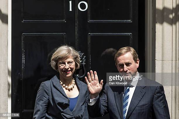 The Irish Taoiseach Enda Kerry is greeted by British Prime Minister Theresa May to Downing Street on July 26 2016 in London England Theresa May met...