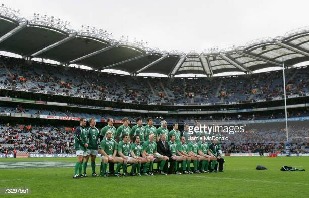 The Irish team pose for a team photograph prior to kickoff during the RBS Six Nations Championship match between Ireland and France at Croke Park on...