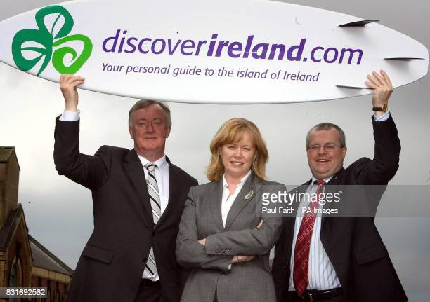 The Irish tourism minister John O'Donoghue and the Northern Ireland Office trade and enterprise minister Angela Smith with Paul O'Toole Tourism...