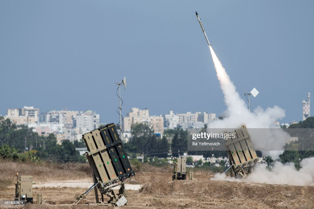 The Iron Dome airdefense system fires to intercept a rocket over the city of Ashdod on July 8 in Ashdod Israel Due to recent escalation in the region...