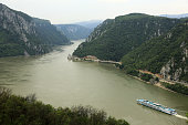 The Iron Gates gorge with a tour boat