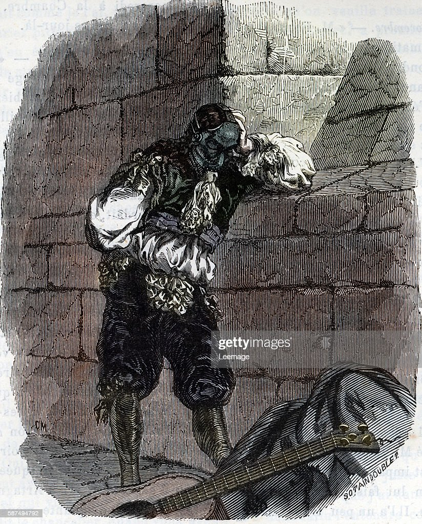 the Iron mask in his prison on the island of sainteMarguerite 1690 Engraving 19th century Private collection