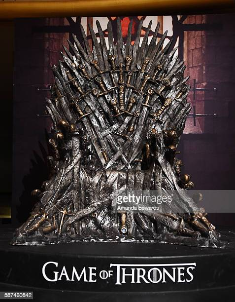 The Iron Throne is displayed at HBO's 'Game Of Thrones' Live Concert and QA event with composer Ramin Djawadi at the Hollywood Palladium on August 8...