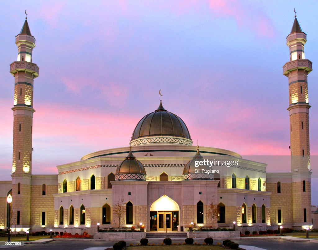 The Islamic Center of America mosque is seen in the evening when Muslims across America gather together to celebrate Eid alFitr November 3 2005 in...