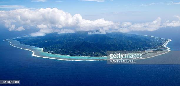 The Island of Rarotonga the largest island in the Cook Islands is viewed from the air on August 30 2012 AFP PHOTO / Marty Melville
