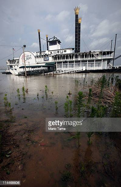 The Isle of Capri riverboat casino sits at its flooded docking area on the Mississippi River on May 20 2011 in Natchez Mississippi The river is...