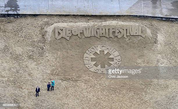 The Isle of Wight Festival unveil a 10m long sand sculpture on the beach at Ryde as their Saturday Headliner 'Red Hot Chilli Peppers' are announced...