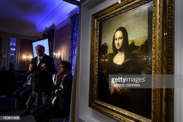 The 'Isleworth Mona Lisa' is presented by the Mona Lisa Foundation on September 27 2012 in Geneva as an earlier version of the 'Mona Lisa' painted by...