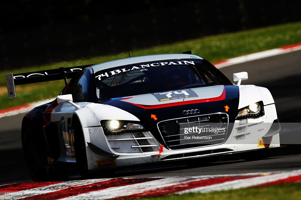 The ISR Audi R8 LMS Ultra of Anders Fjordbach and Thomas Fjordbach drives in the Main Race during the Blancpain GT Sprint Series event at Brands...