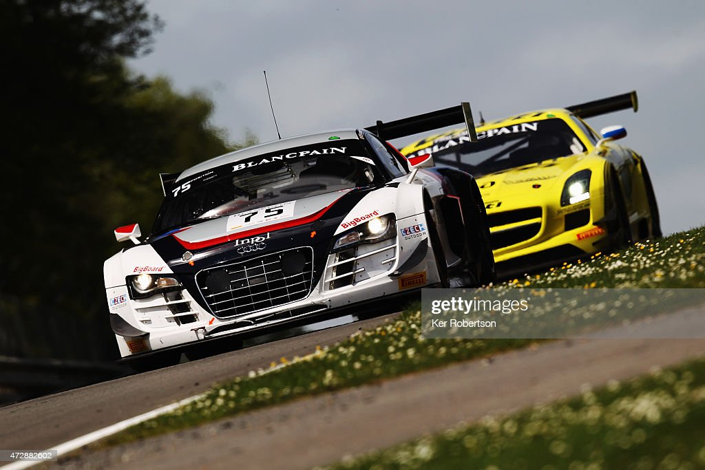 The ISR Audi R8 LMS Ultra of Marco Bonanomi and Filip Salaquadra drives in the Qualifying Race during the Blancpain GT Sprint Series event at Brands...