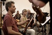 The Israel Camerata Jerusalem Orchestra play instruments from the 'Violins of Hope' project during a rehearsal for a special concert performed on...