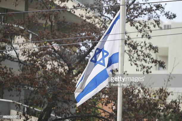 LOCATION ATHENS ATTICA GREECE The Israeli flag flies outside the embassy in Athens The Israeli embassy in Athens has been attacked by 4 unidentified...